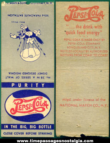 Old Pepsi Cola / Walt Disney / Military Insignia Match Book Cover