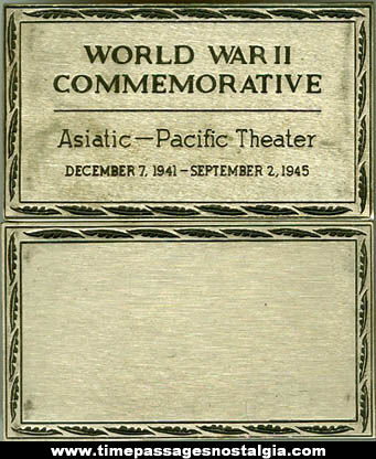 World War II Asiatic   Pacific Theater Commemorative Metal Plate