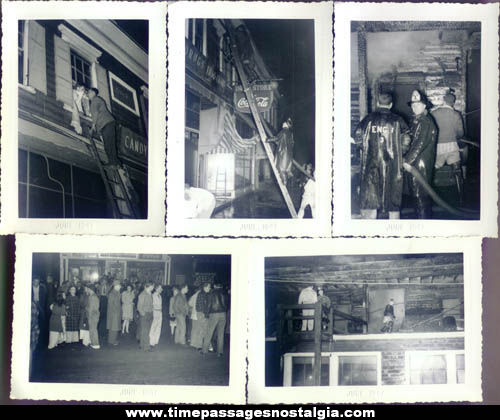 (5) 1947 Drug Store Fire and Fireman Photographs