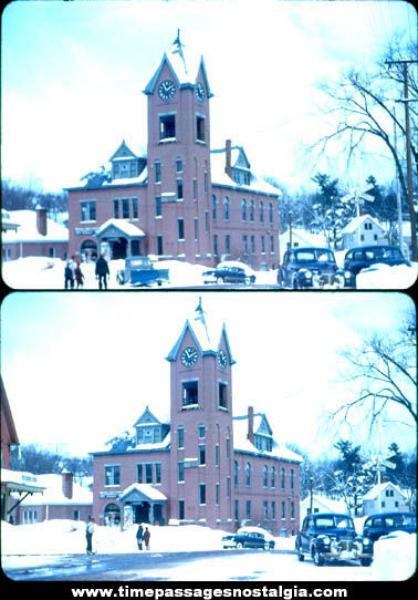 (2) Old Sanbornville New Hampshire Town Hall Photograph Slides