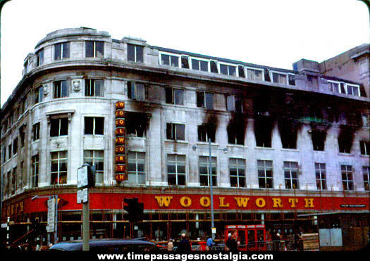 Old London England Woolworth Department Store Fire Photograph Slide