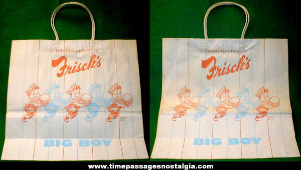 Large Old Frisch's Big Boy Restaurant Advertising Paper Bag