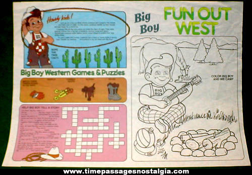 Old Big Boy Restaurant Advertising Puzzle & Game Placemat