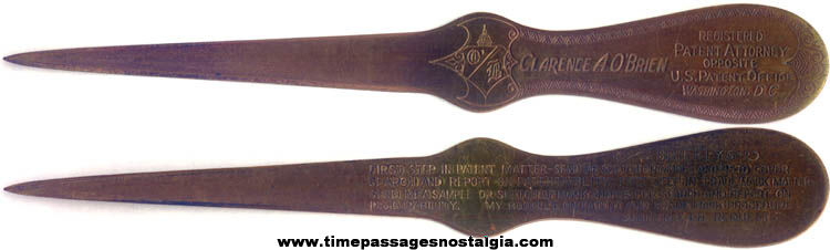 Old Clarence A. O'Brien Patent Attorney Advertising Premium Letter Opener