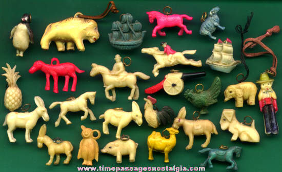 (25) Old Painted Miniature Celluloid Charms