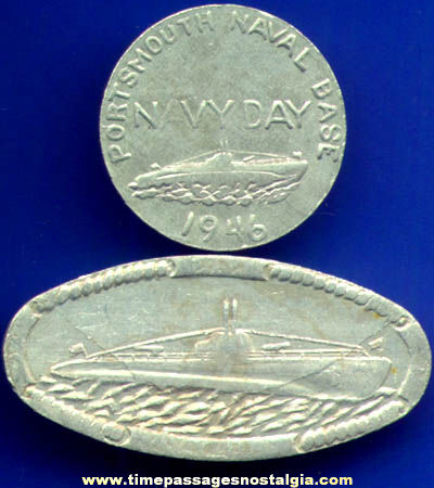 (2) Different 1940s Portsmouth, New Hampshire Naval Base Navy Day Coins