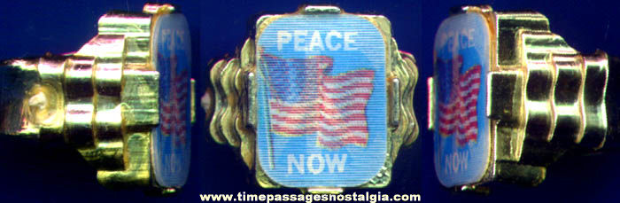 Old Peace Now Flag Flicker Lenticular Premium Toy Ring