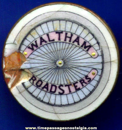 Early Waltham Roadsters Club Advertising Porcelain Pin
