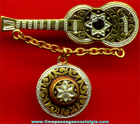 Old Ornate Metal Guitar and Hat Charm Jewelry Pin