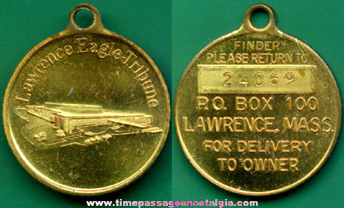 Old Lawrence Eagle Tribune Newspaper Advertising Key Chain Fob