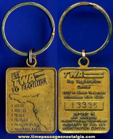 Old TWA Airlines Advertising Florida Registered ID Key Ring
