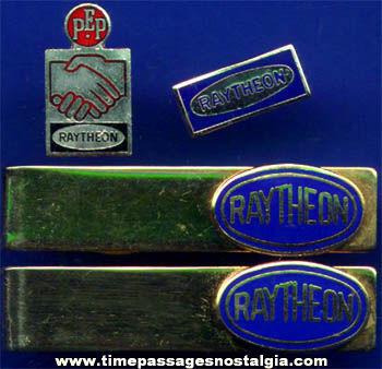(4) Old Enameled Raytheon Advertising Jewelry Items