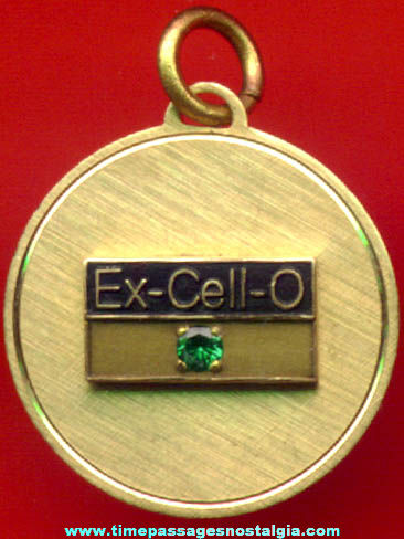 Ex-Cell-O Employee Award Medallion Charm With Stone
