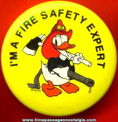 Old Walt Disney Donald Duck Fireman Character Pin Back Button