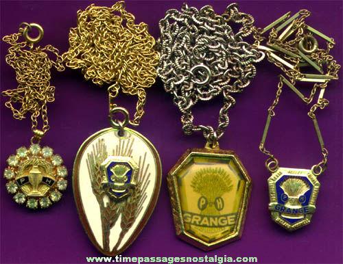 (4) Old Grange Fraternal Necklaces