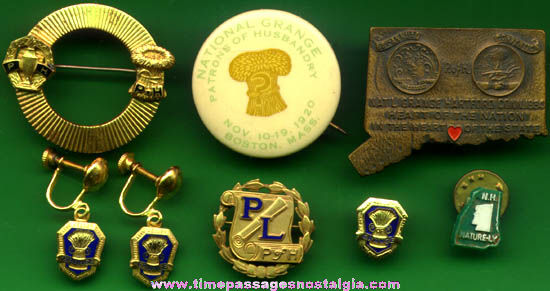 (8) Old Grange Fraternal Jewelry Items
