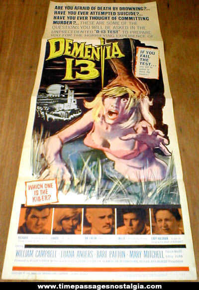 Colorful & Graphic �1963 Dementia 13 Horror Movie Poster