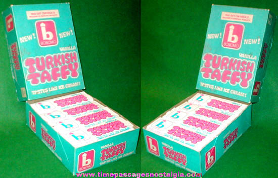 1960s Full Box of (28) Bonomo Vanilla Turkish Taffy Candy Bars