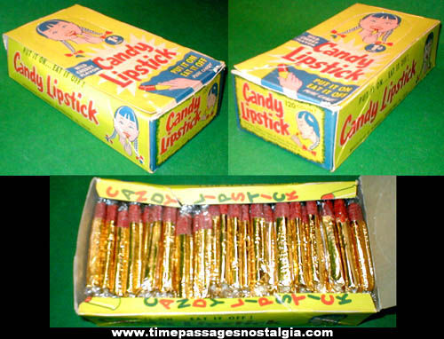 1960s Full Candy Lipstick Penny Candy Display Box
