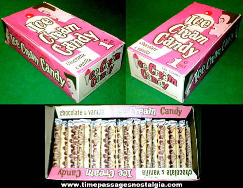 1960s Full Chocolate & Vanilla Ice Cream Candy Penny Candy Display Box