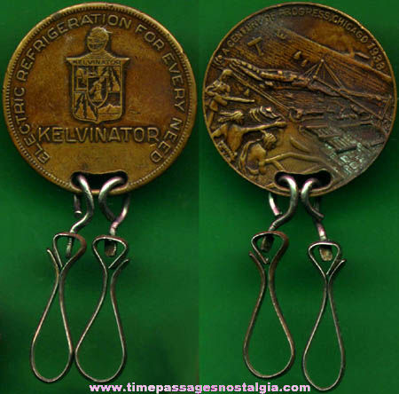 1933 Chicago Century Of Progress Kelvinator Advertising Medallion Key Chain