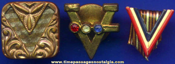 (3) Different Old ''V'' for Victory War Homefront Jewelry Items