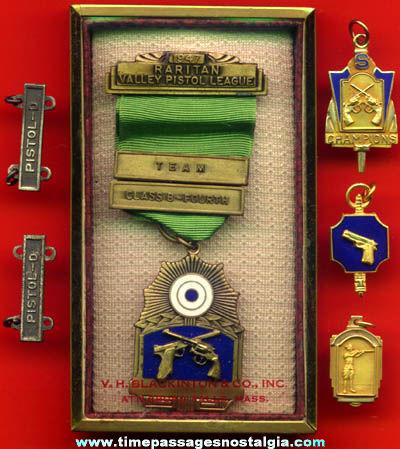 (6) Old Pistol Gun Award Medals