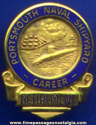 Old Enameled Gold Portsmouth Naval Shipyard Retirement Screw Back Button