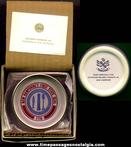 Boxed ©1973 New Hampshire State Seal Governor Presentation Bowl & Card