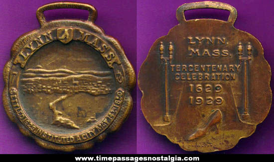 1929 Lynn, Massachusetts Tercentenary Advertising Pocket Watch Fob