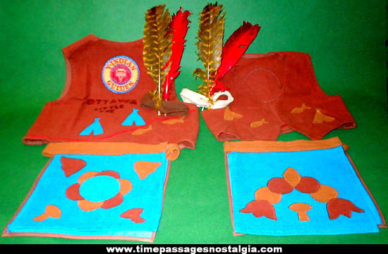 (2) Old Childrens YMCA Native American Indian Costumes