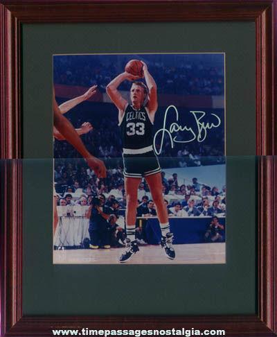 ©1990 Matted, Framed, & Autographed Larry Bird Boston Celtics Photograph