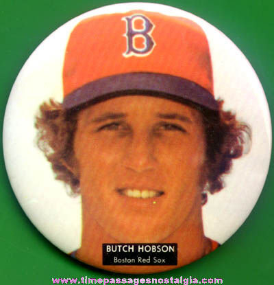 Large Old Butch Hobson Boston Red Sox Baseball Pin Back Button