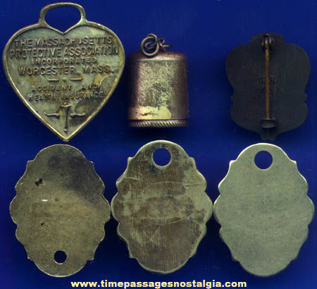 (6) Old Metal Identification Tags, Charms, and Pin