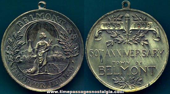 1859 - 1909 Town of Belmont Massachusetts 50th Anniversary Medallion