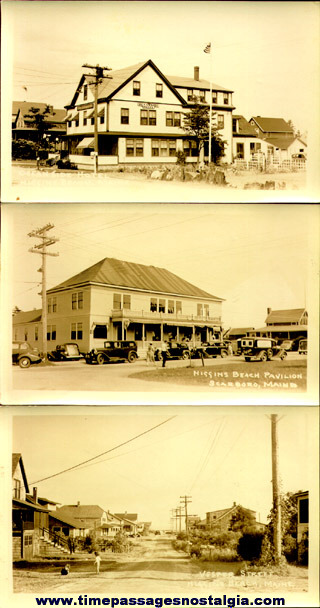 (3) Early Unused Higgins Beach, Maine Real Photo Post Cards