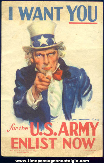 1940 Miniature United States Army Uncle Sam Patriotic Enlistment Poster