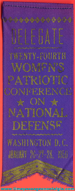 1950 Womans Patriotic Conference National Defense Delegate Ribbon