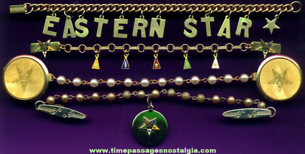 (4) Old Order Of The Eastern Star Fraternal Organization Jewelry Items