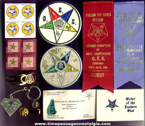 (13) Old Order Of The Eastern Star Fraternal Organization Items