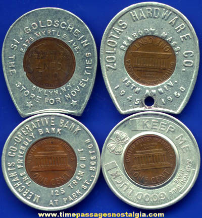 (4) Old Souvenir Advertising Premium Encased Cent Tokens