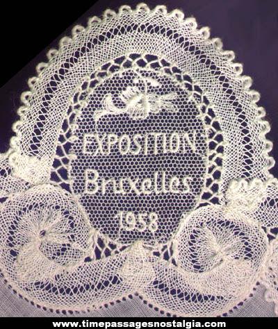 1958 Bruxelles Exposition Souvenir Lace Handkerchief