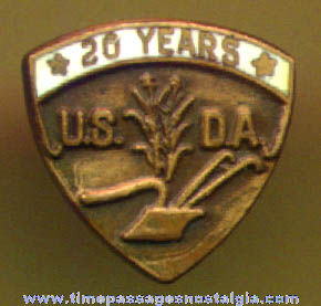 Old United States Department of Agriculture (20) Year Service Lapel Stud Award Button