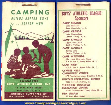 Old Unused Boys' Athletic League Advertising Premium Stamp Booklet