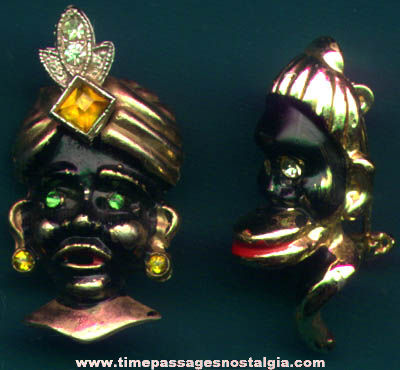 (2) Old Painted African Women Jewelry Pins With Stones
