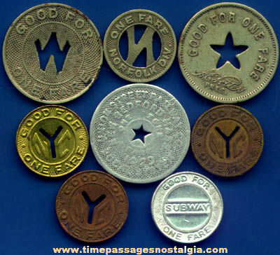 (8) Old Train, Subway, Bus, Streetcar, or Trolley Transportation Tokens