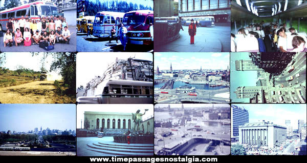 (12) Old Bus Transportation Photograph Slides