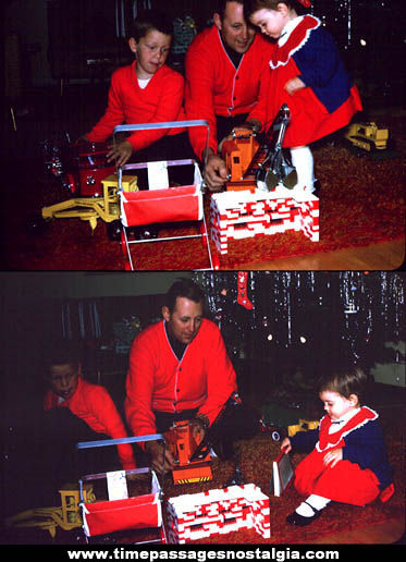(2) 1962 Christmas Color Photograph Slides With Children & Toys