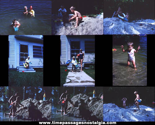(18) 1962 Beach Photograph Slides With Children & Toys
