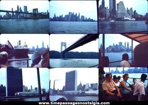 (9) 1960 Manhattan New York Skyline Photograph Slides